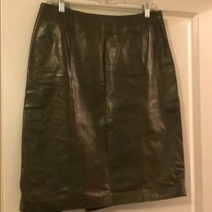 Olive leather skirt